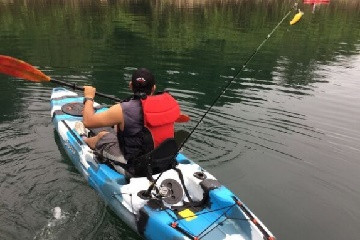 Kayak fishing on Lake Arenal